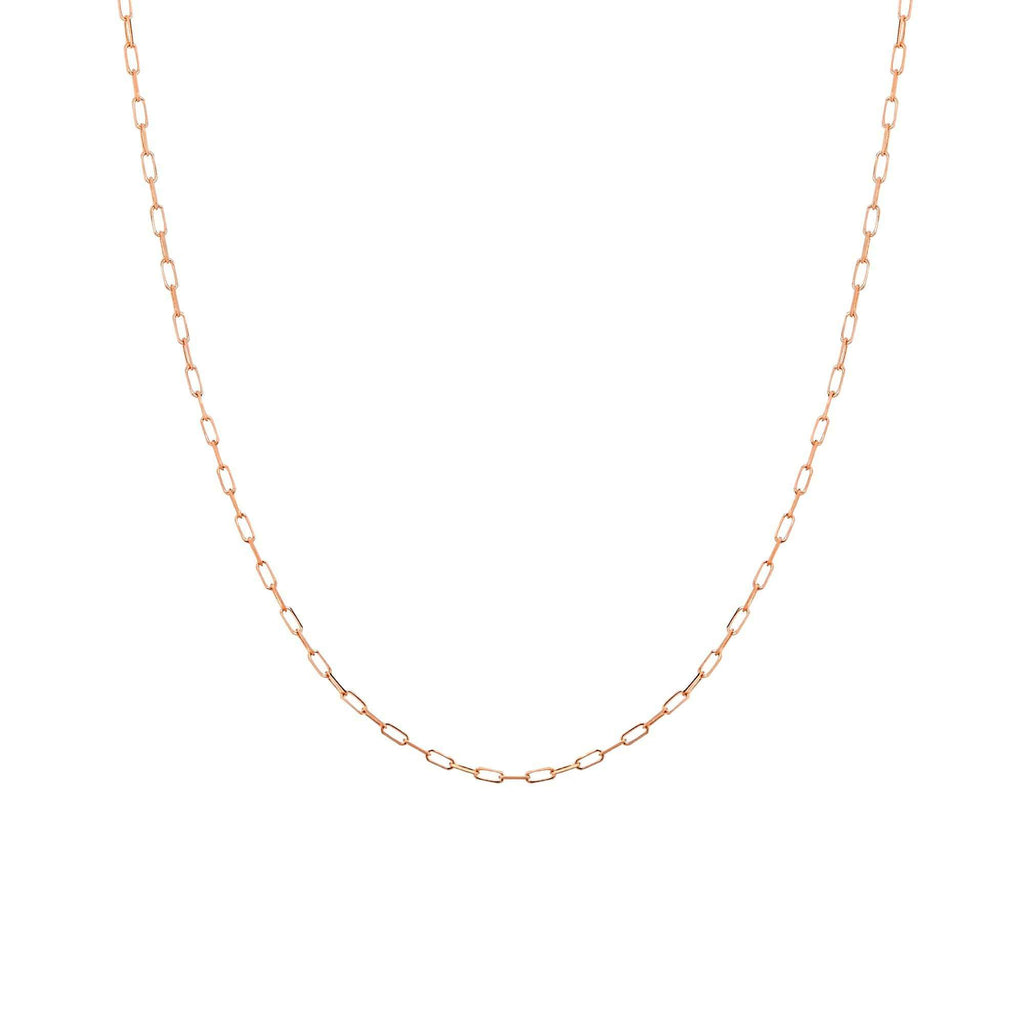 Chain 16 inches / Rose 14K Gold 1.95 mm Diamond Cut Forzatina Paper Clip Chain with Lobster Claw Clasp