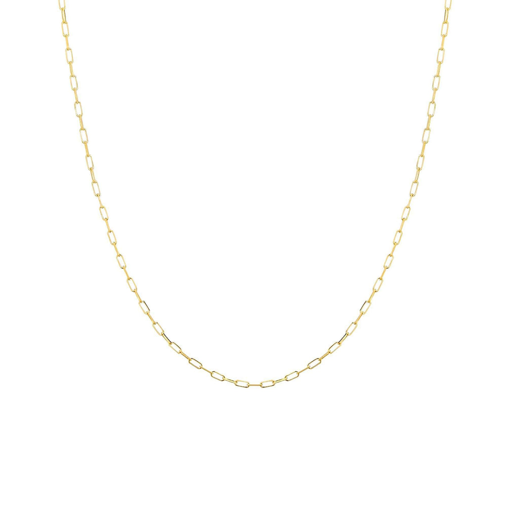 Chain 16 inches / Yellow 14K Gold 1.95 mm Diamond Cut Forzatina Paper Clip Chain with Lobster Claw Clasp