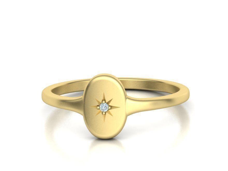 Necklace 14K Gold Starburst Signet Ring