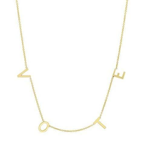 "Necklace 14K Gold VOTE Necklace. 18"" total length with a jump ring 16."""