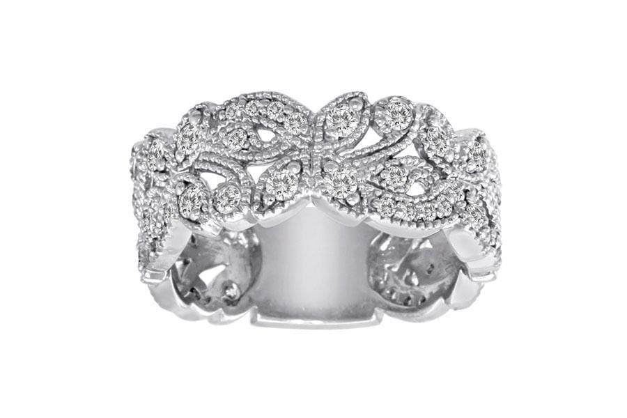 Ring 3/4 Carat Diamond 14K Gold Scrolling Floral Fashion Ring with VS Natural Diamonds #4