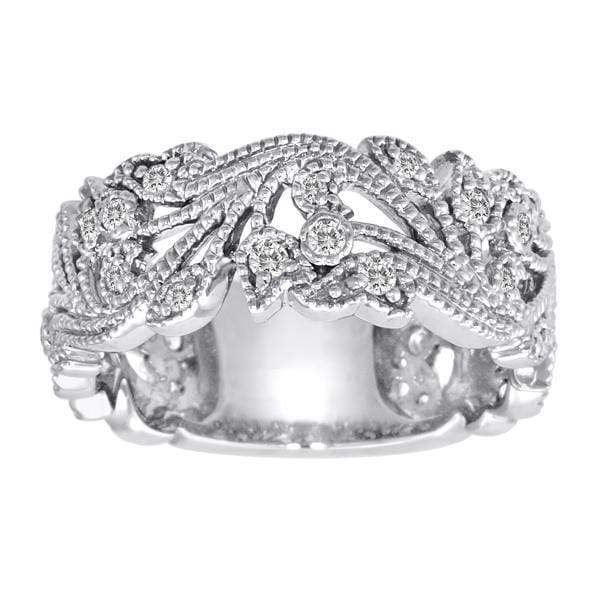 Ring 3/8 Carat Diamond 14K Gold Scrolling Floral Fashion Ring with VS Natural Diamonds #5
