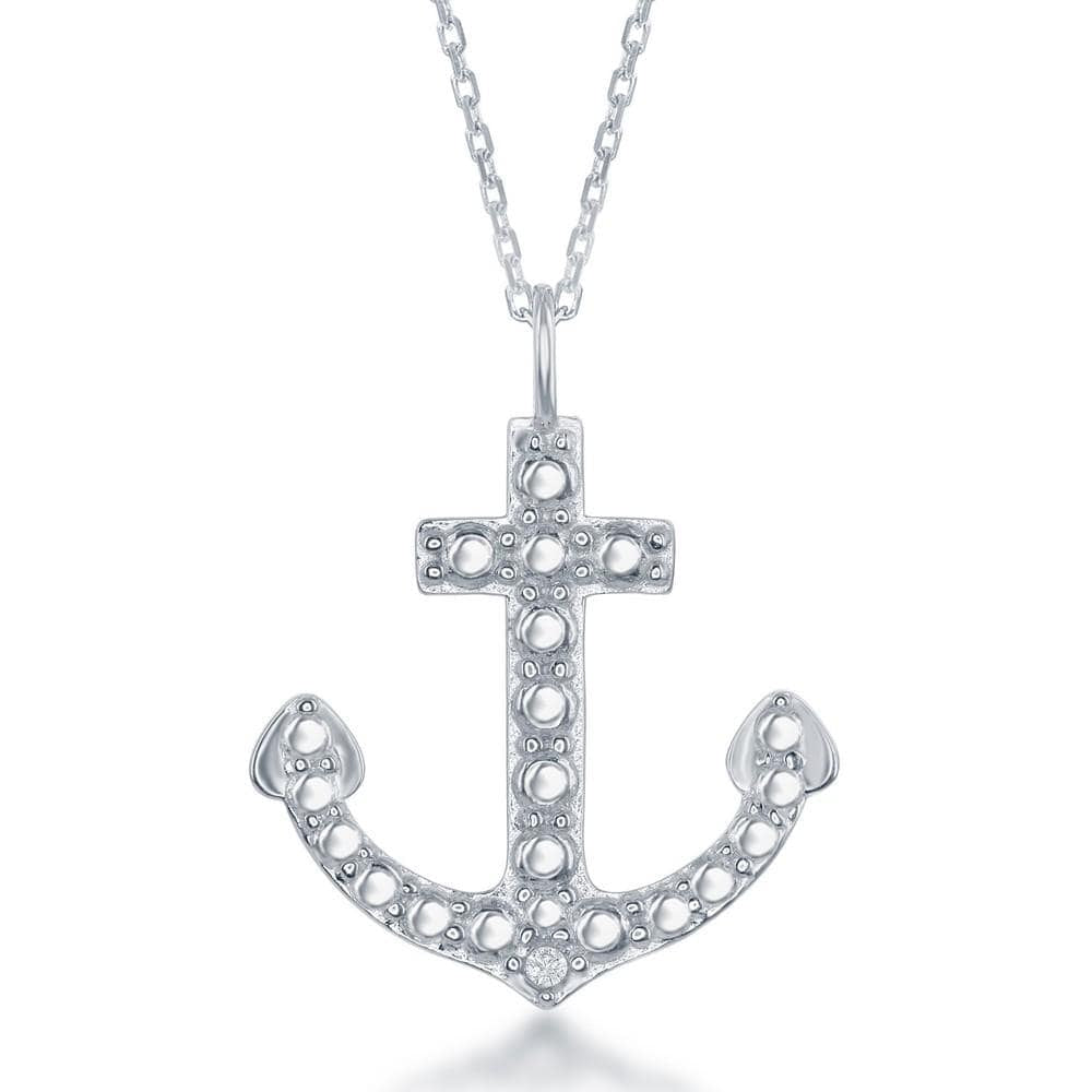Necklace .925 Sterling Silver Diamond Accent Anchor Pendant w/ Chain