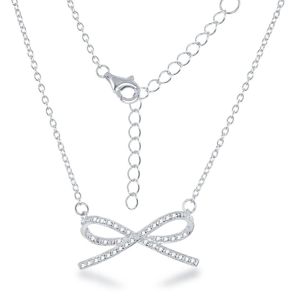 Necklace .925 Sterling Silver Diamond Accent Bow Necklace