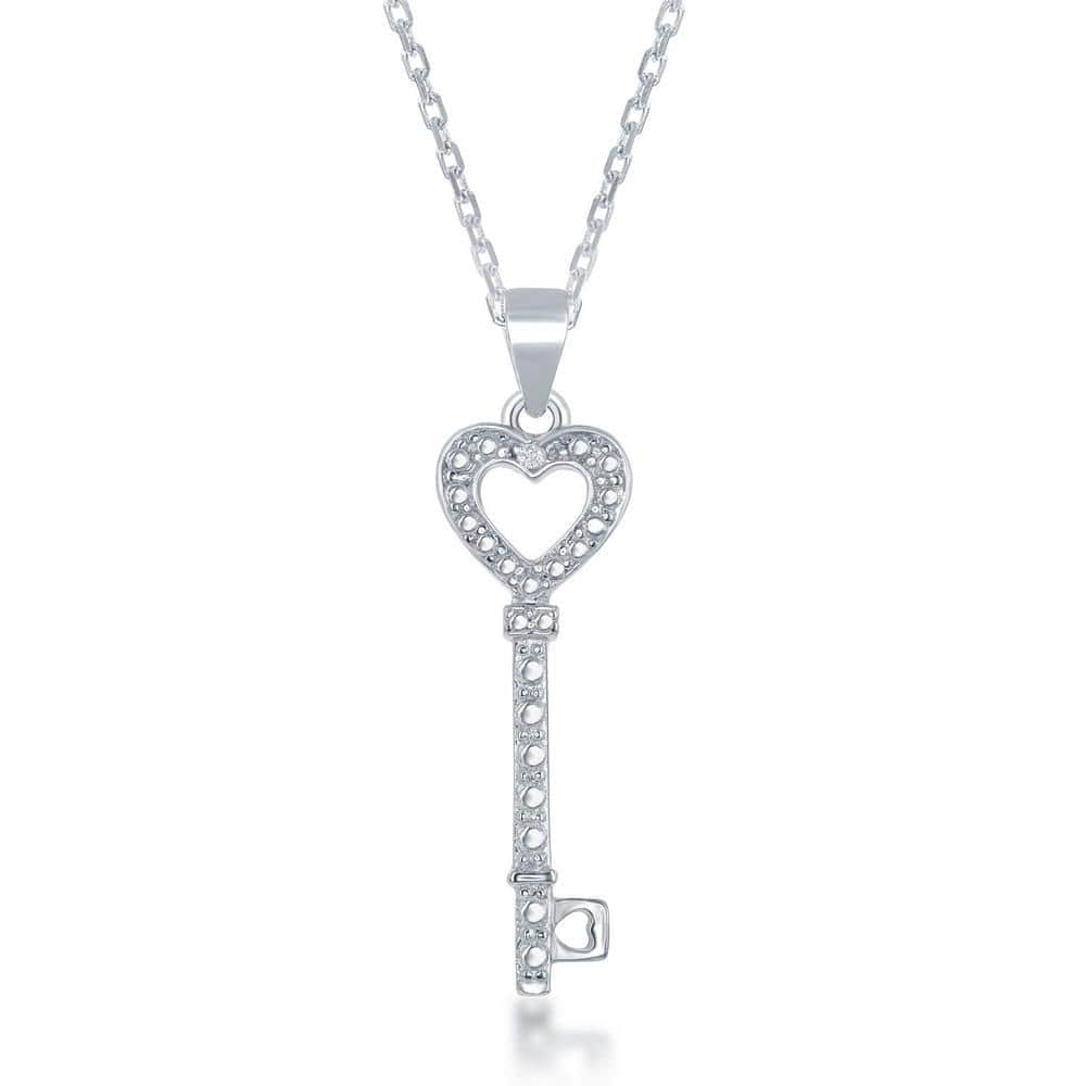 Necklace .925 Sterling silver Diamond Accent Key Heart Pendant w/ Chain