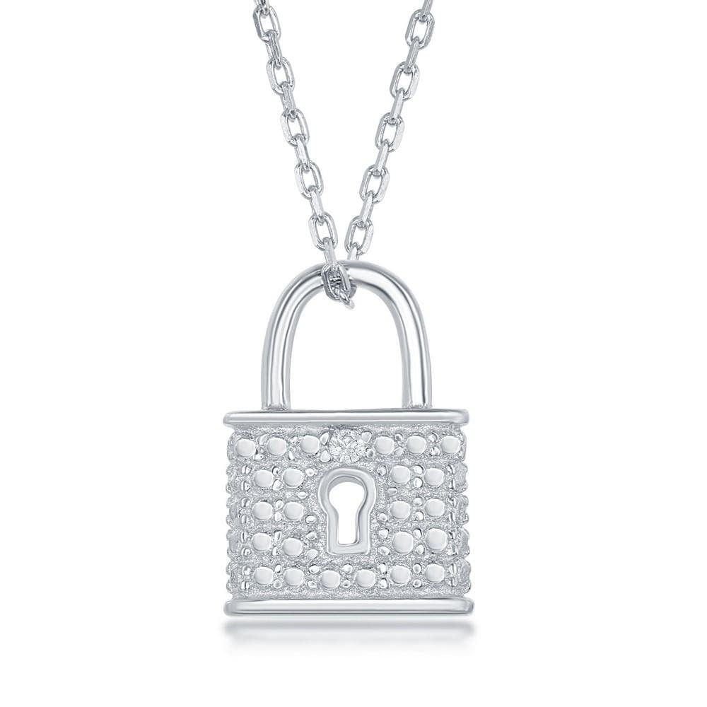 Necklace .925 Sterling Silver Diamond Accent Lock Pendant w/ Chain
