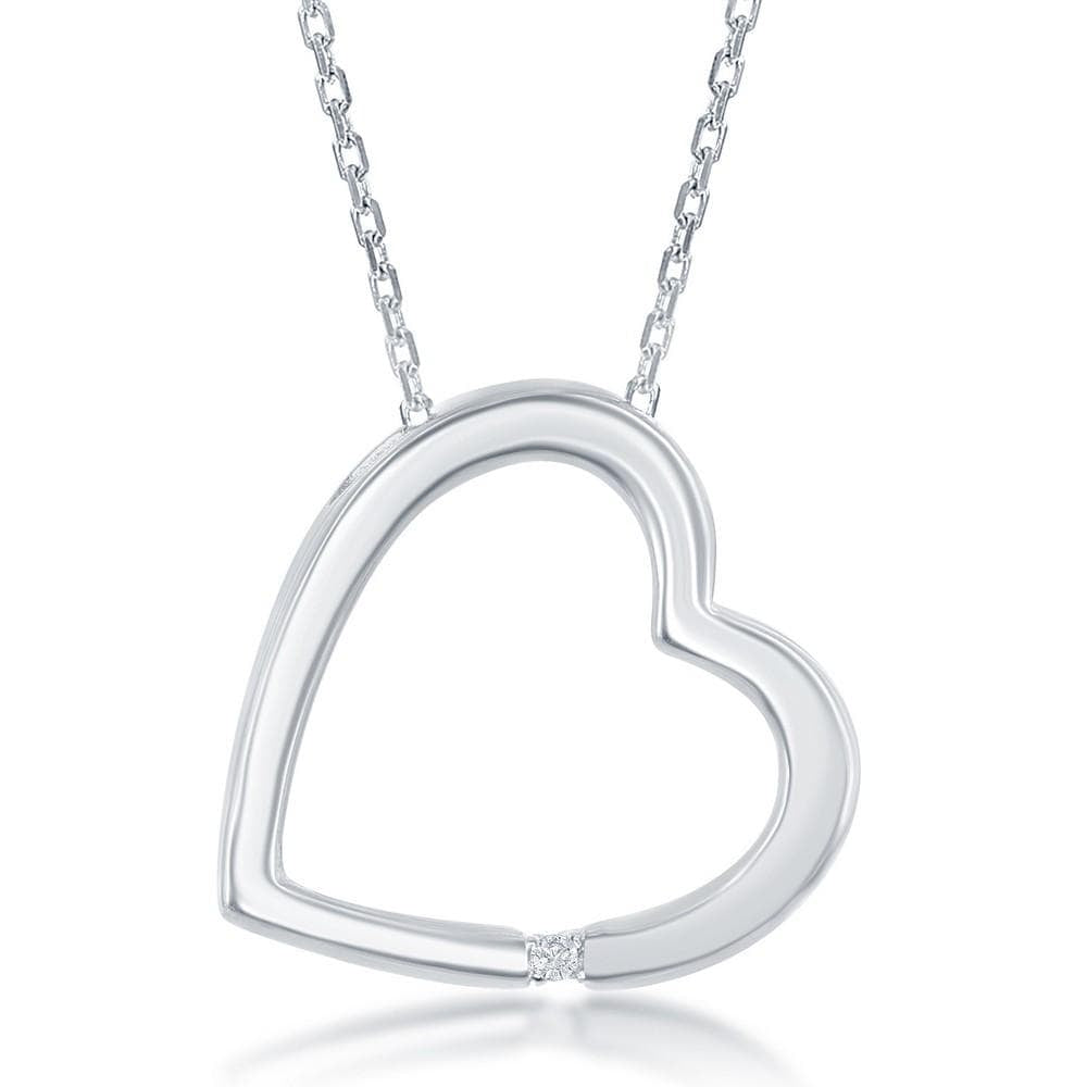 Necklace .925 Sterling Silver Diamond Accent Open Heart Pendant w/ Chain