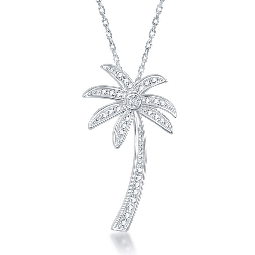 Necklace .925 Sterling Silver Diamond Accent Palm Tree Pendant w/ Chain