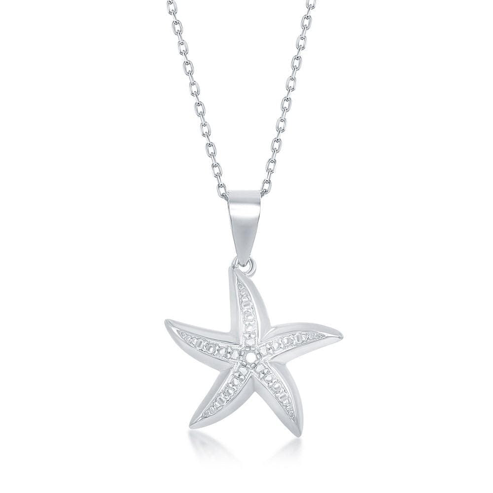 Necklace .925 Sterling Silver Diamond Accent Starfish Pendant w/ Chain