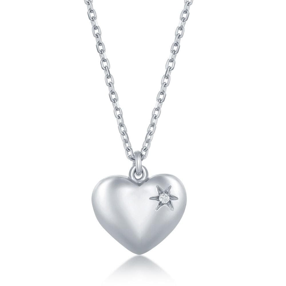 Necklace .925 Sterling Silver Diamond Puffed Heart Necklace