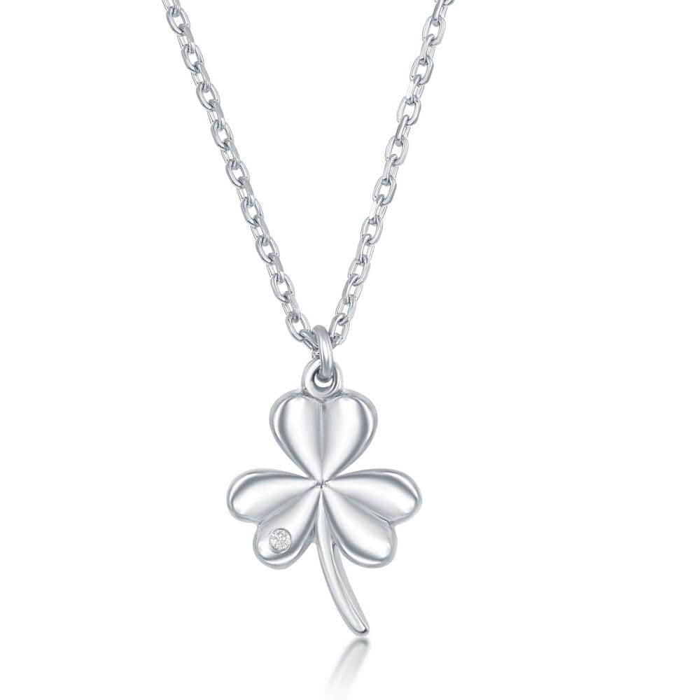 Necklace .925 Sterling Silver Diamond Three Leaf Clover Necklace