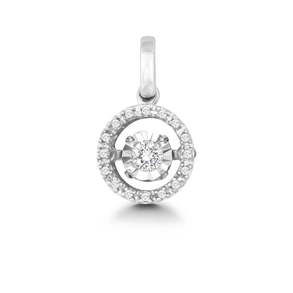 Necklace .925 Sterling Silver Diamond w/ Illusion-Cut Circle Pendant