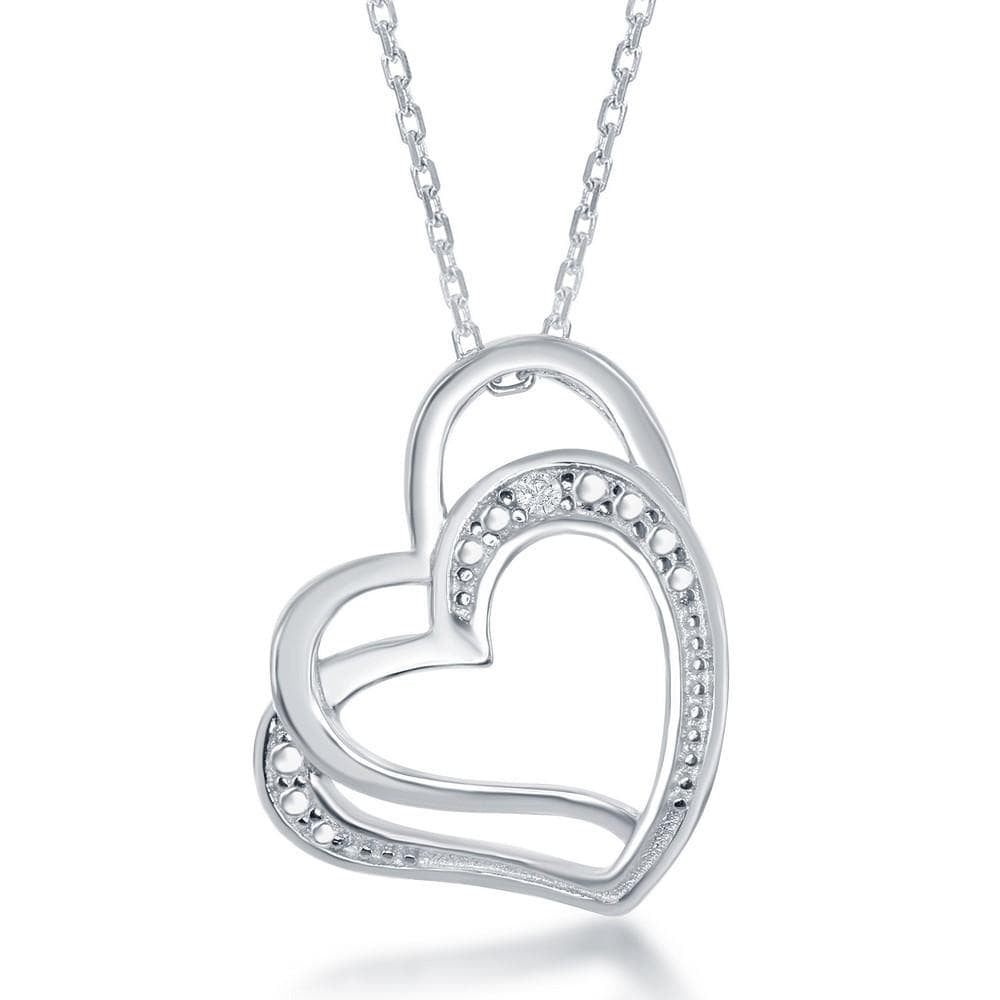 Necklace .925 Sterling Silver Double Open Heart Diamond Accent Pendant w/ Chain