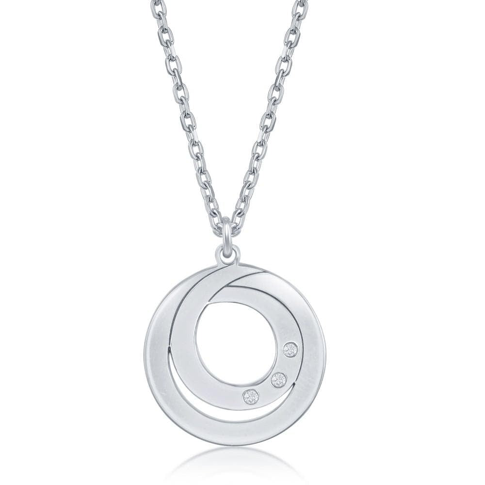 Necklace .925 Sterling Silver Double Swirl Design Necklace