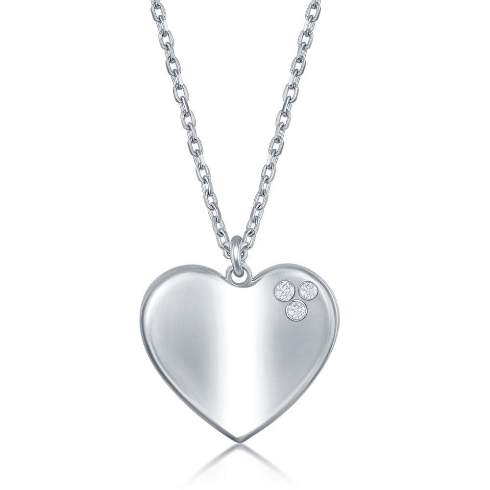 Necklace 925 Sterling Silver High Polished Heart Necklace