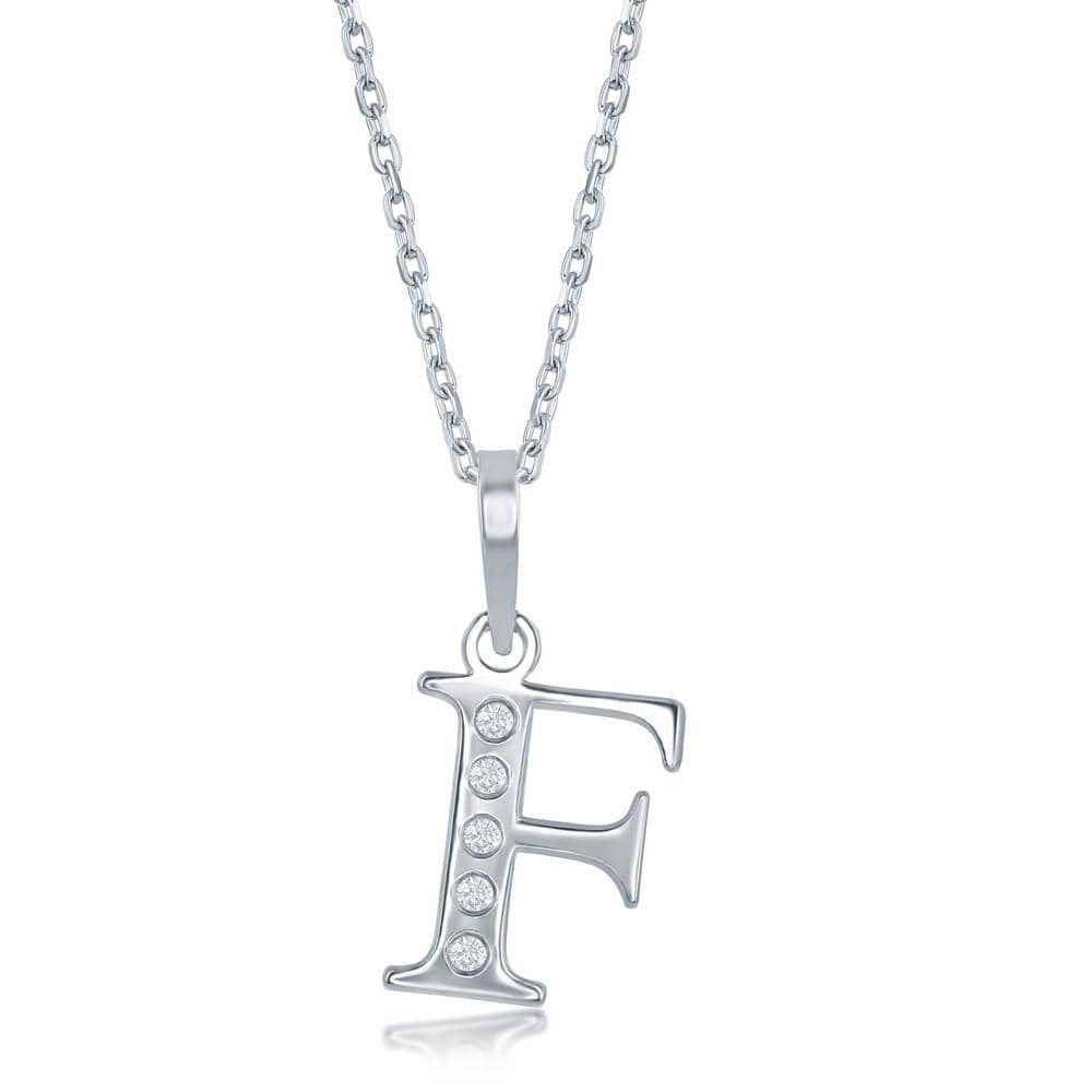 Necklace F .925 Sterling Silver Initial Necklace