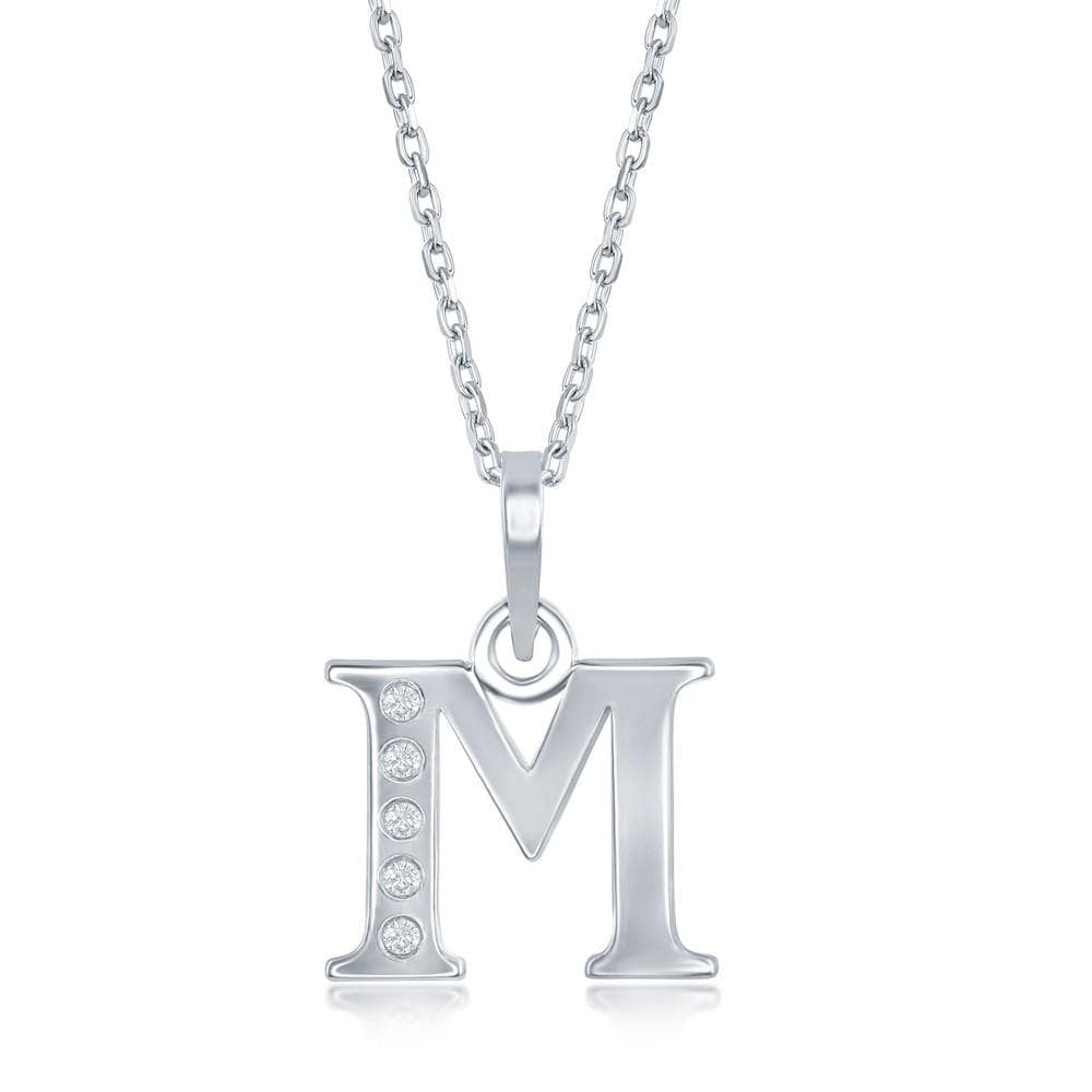 Necklace M .925 Sterling Silver Initial Necklace