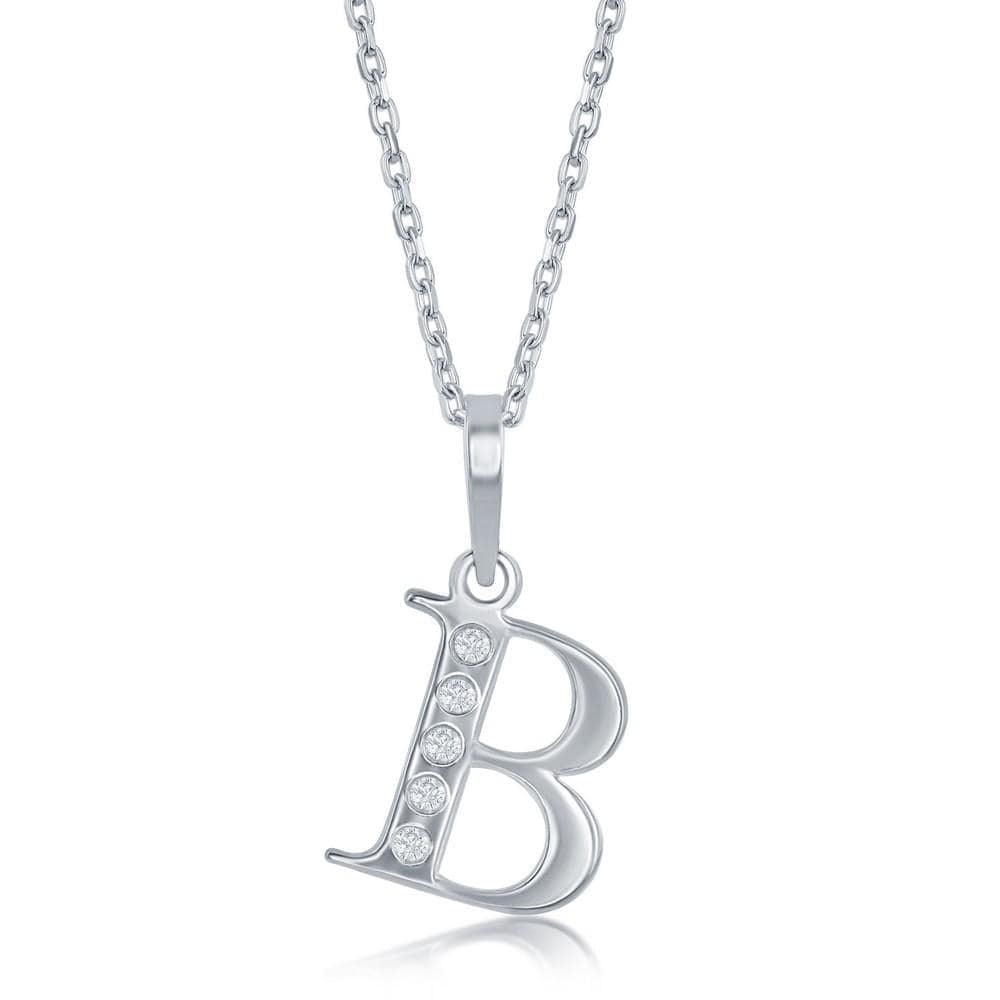 Necklace B .925 Sterling Silver Initial Necklace