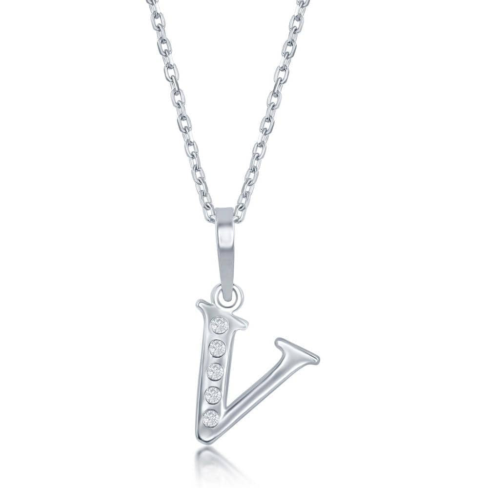 Necklace V .925 Sterling Silver Initial Necklace