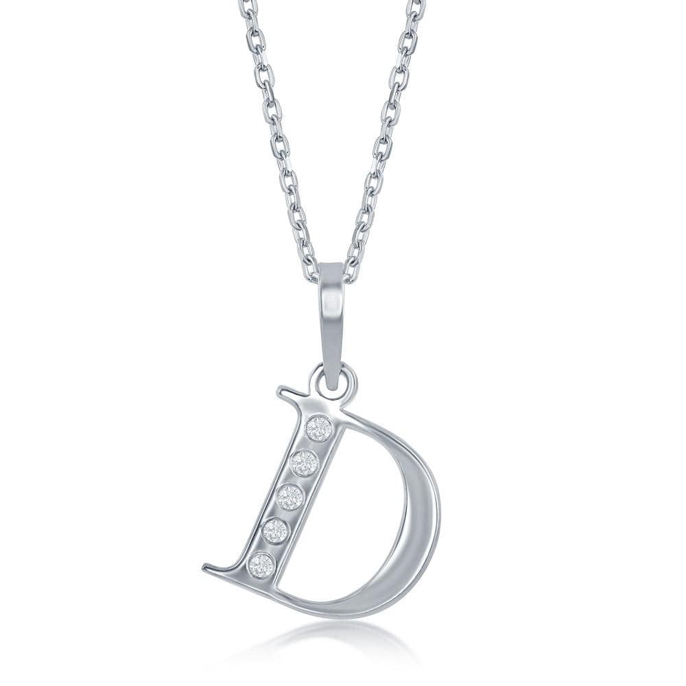 Necklace D .925 Sterling Silver Initial Necklace