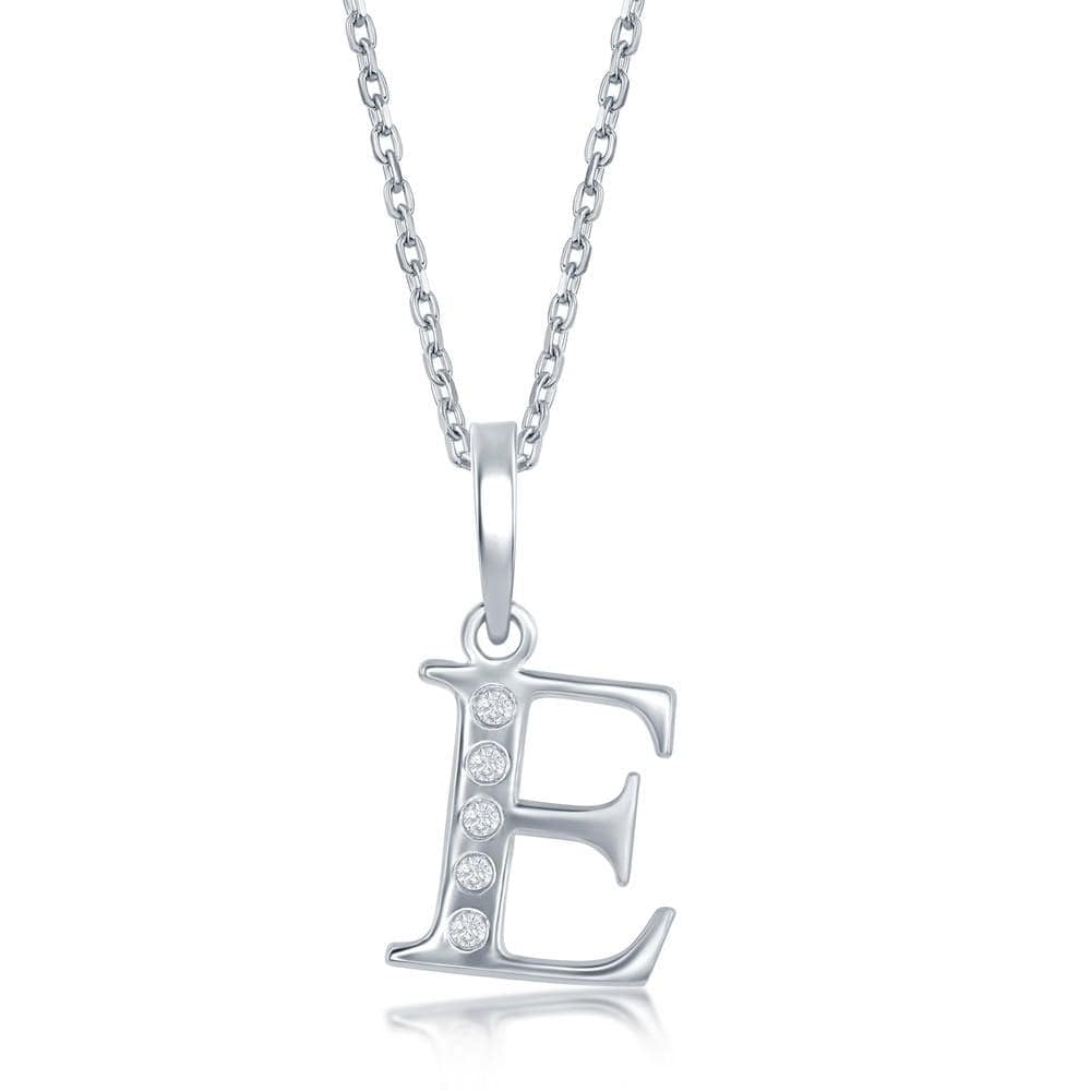 Necklace E .925 Sterling Silver Initial Necklace