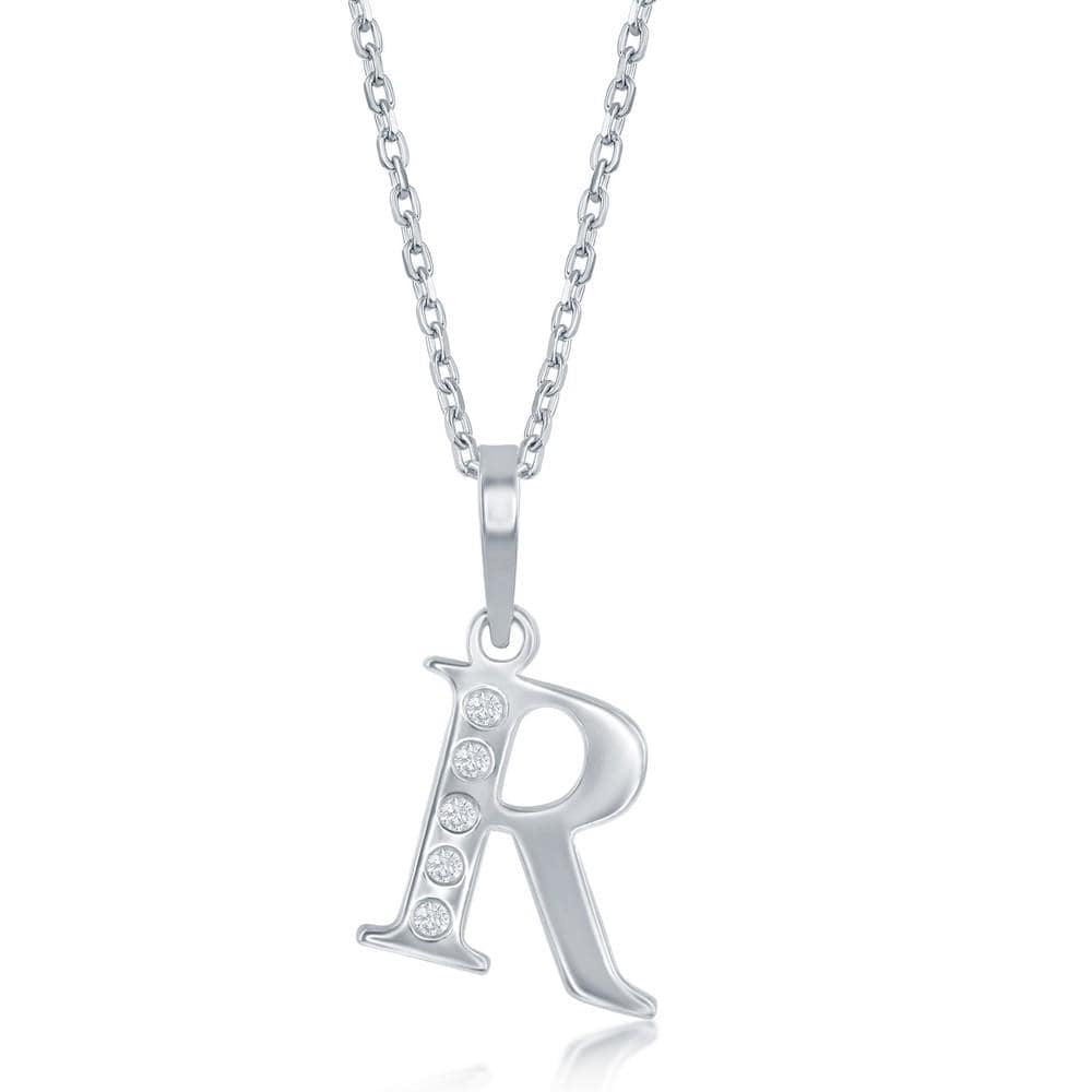 Necklace R .925 Sterling Silver Initial Necklace