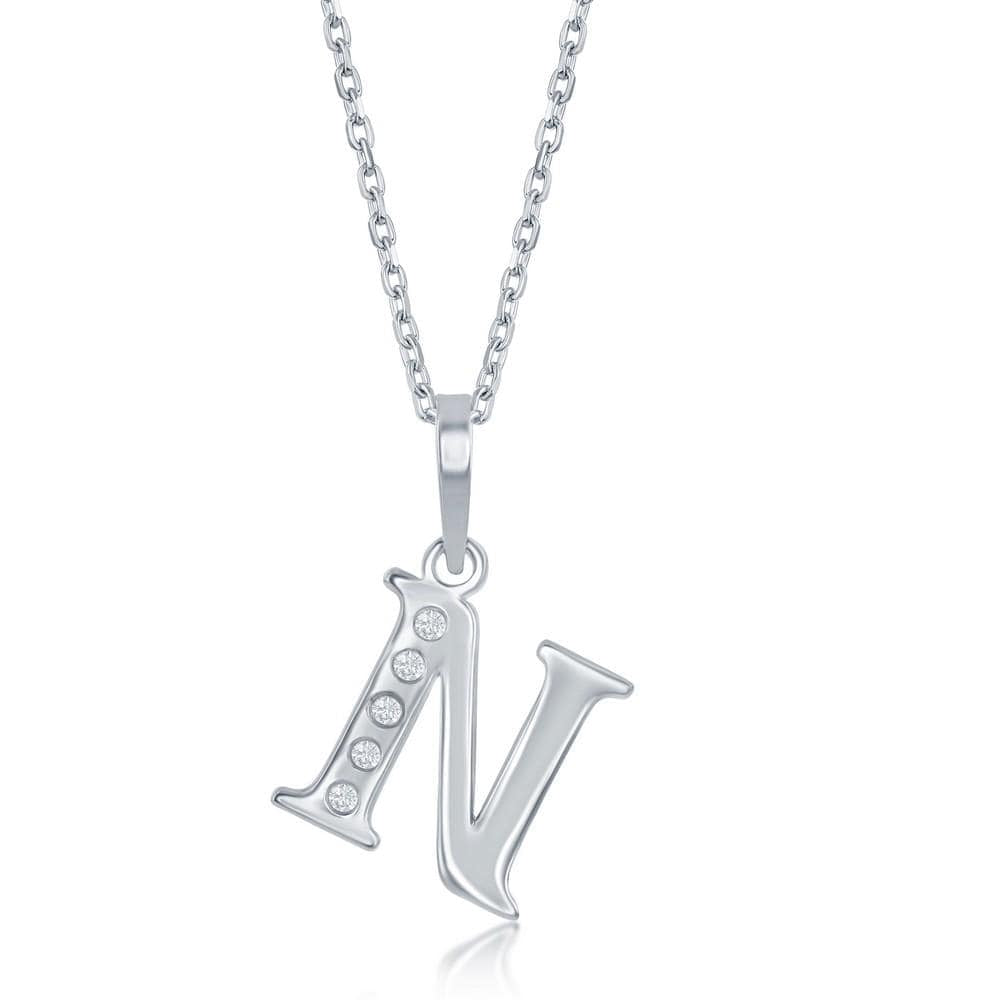 Necklace N .925 Sterling Silver Initial Necklace