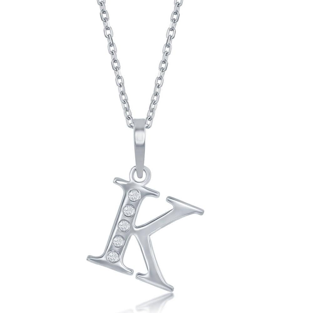 Necklace K .925 Sterling Silver Initial Necklace