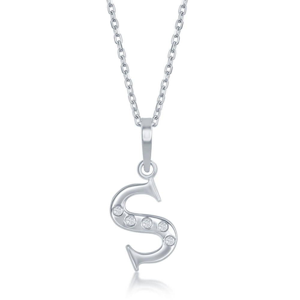 Necklace S .925 Sterling Silver Initial Necklace