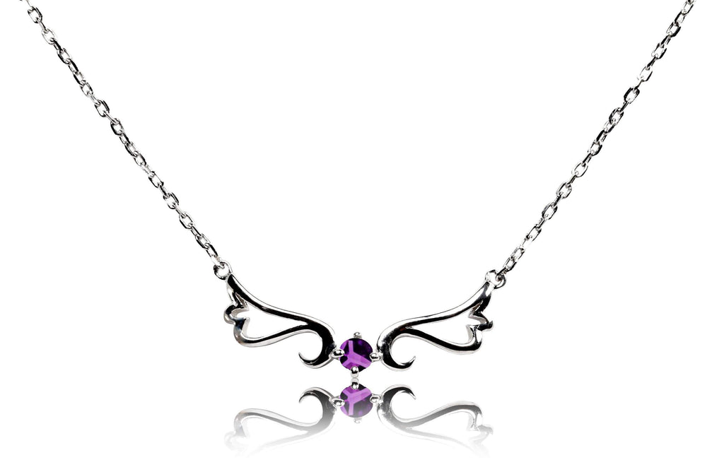 Necklace Amethyst Guardian Angel Necklace- February