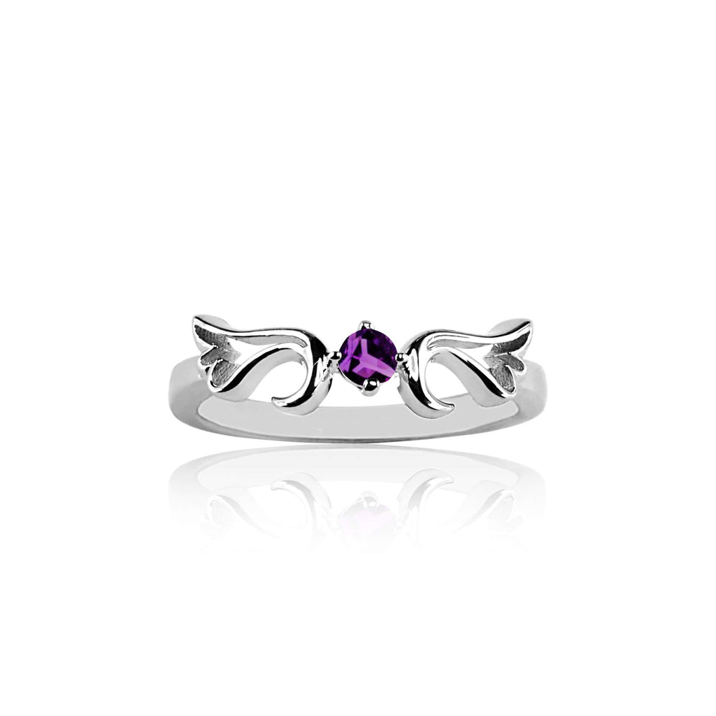 Ring Amethyst Guardian Angel Ring- February