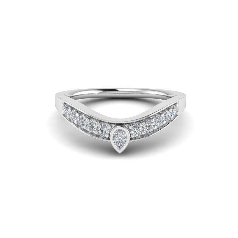 Ring 14K WHITE Ayla Custom Contour Diamond Wedding Ring