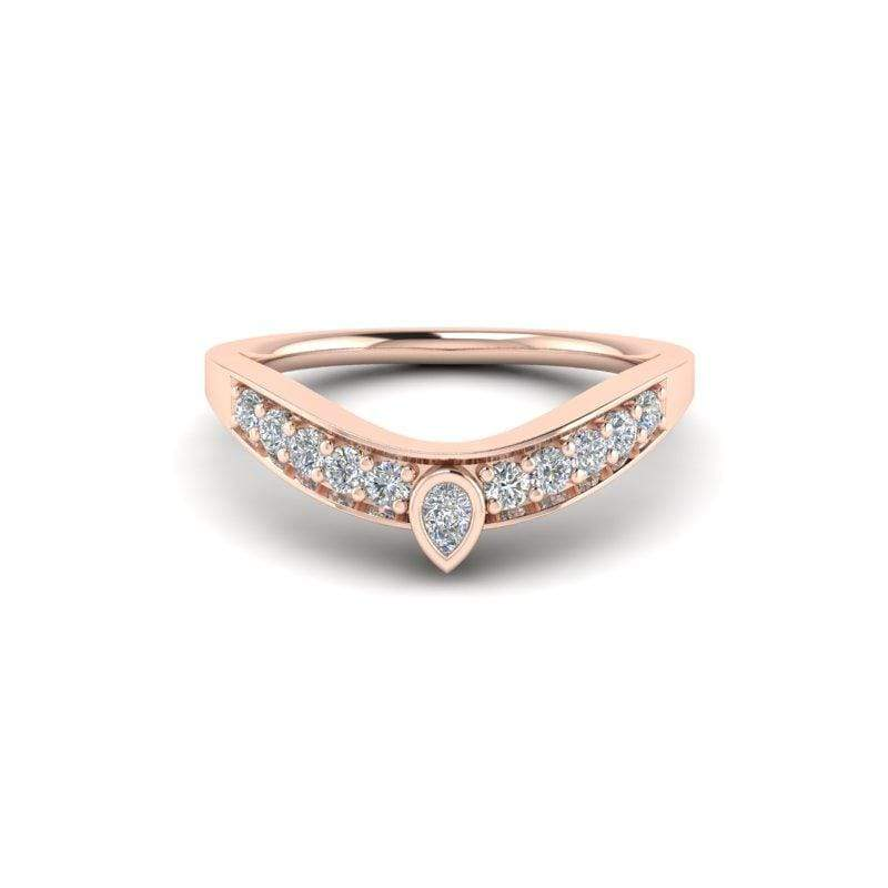 Ring 14K ROSE Ayla Custom Contour Diamond Wedding Ring