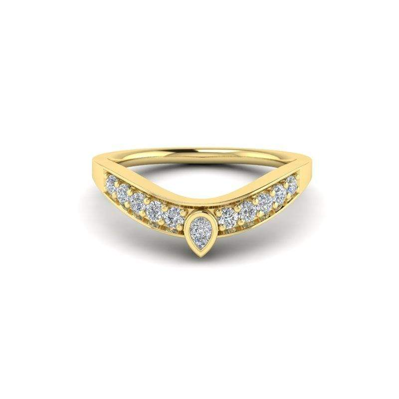 Ring 14K YELLOW Ayla Custom Contour Diamond Wedding Ring