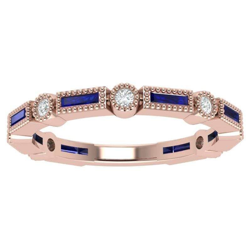 Ring 14K Rose Bella Story & Hearts Stackable Sapphire and Diamond Band