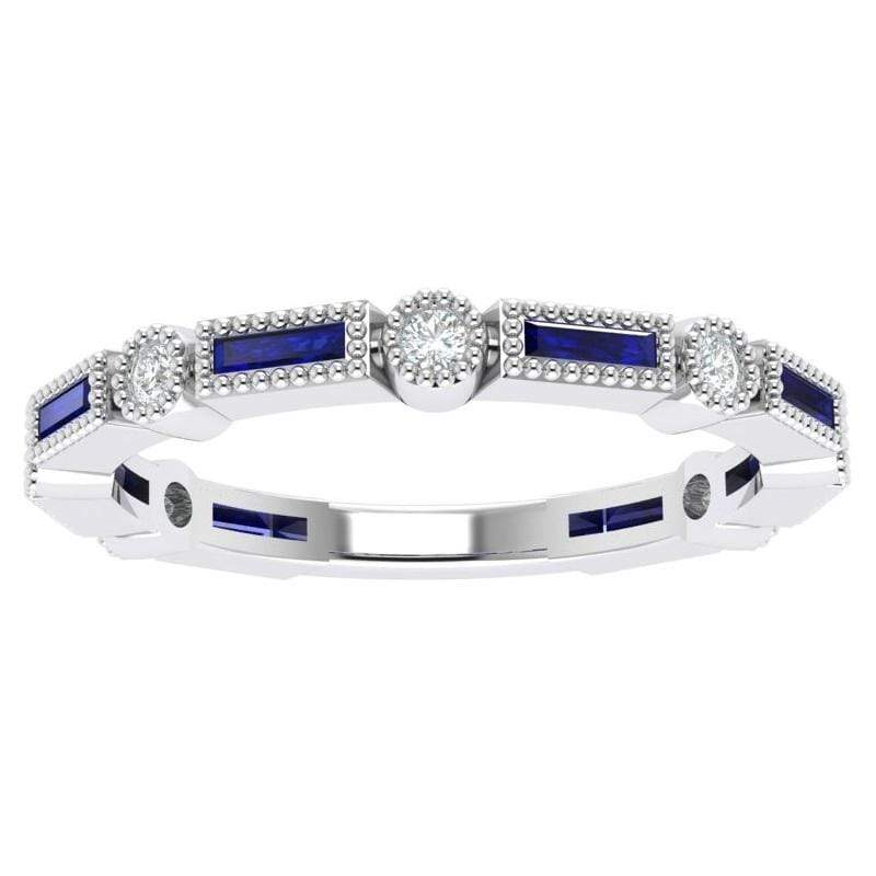 Ring 14K White Bella Story & Hearts Stackable Sapphire and Diamond Band