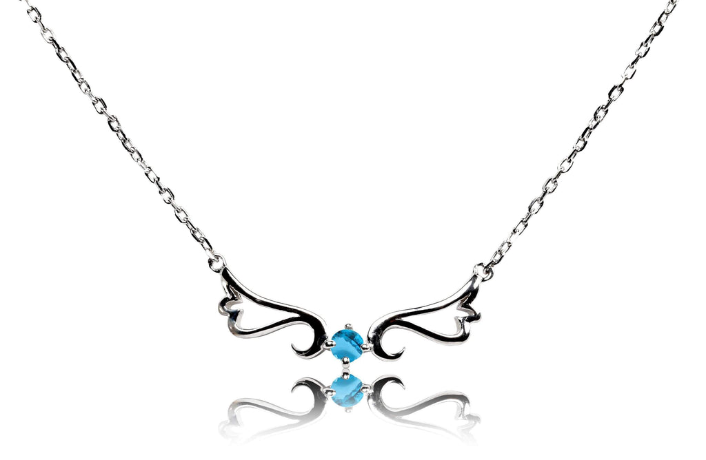 Necklace Blue Topaz Guardian Angel Necklace- December