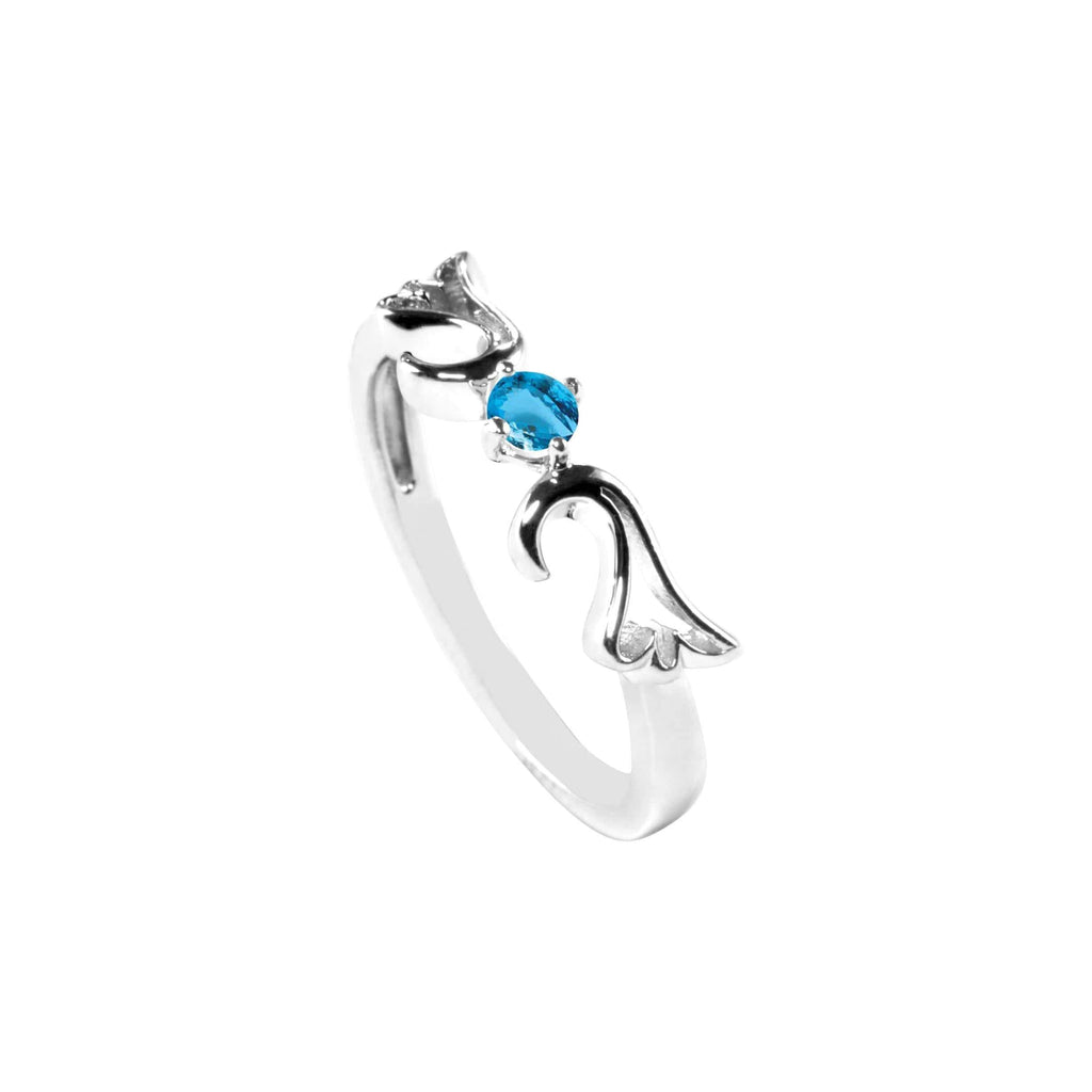 Ring Blue Topaz Guardian Angel Ring- December