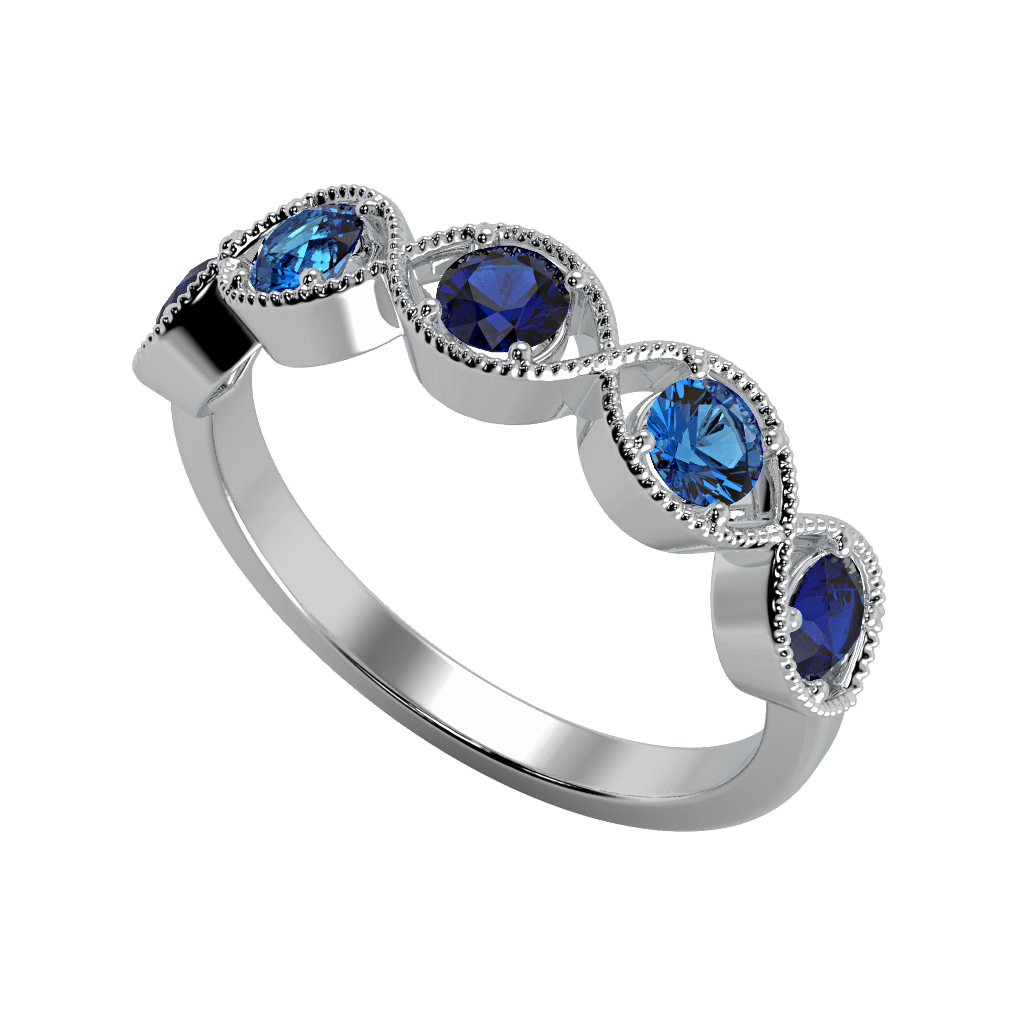 Ring Chloe 14K Gold Story & Hearts Stackable Blue Sapphire and Topaz Band