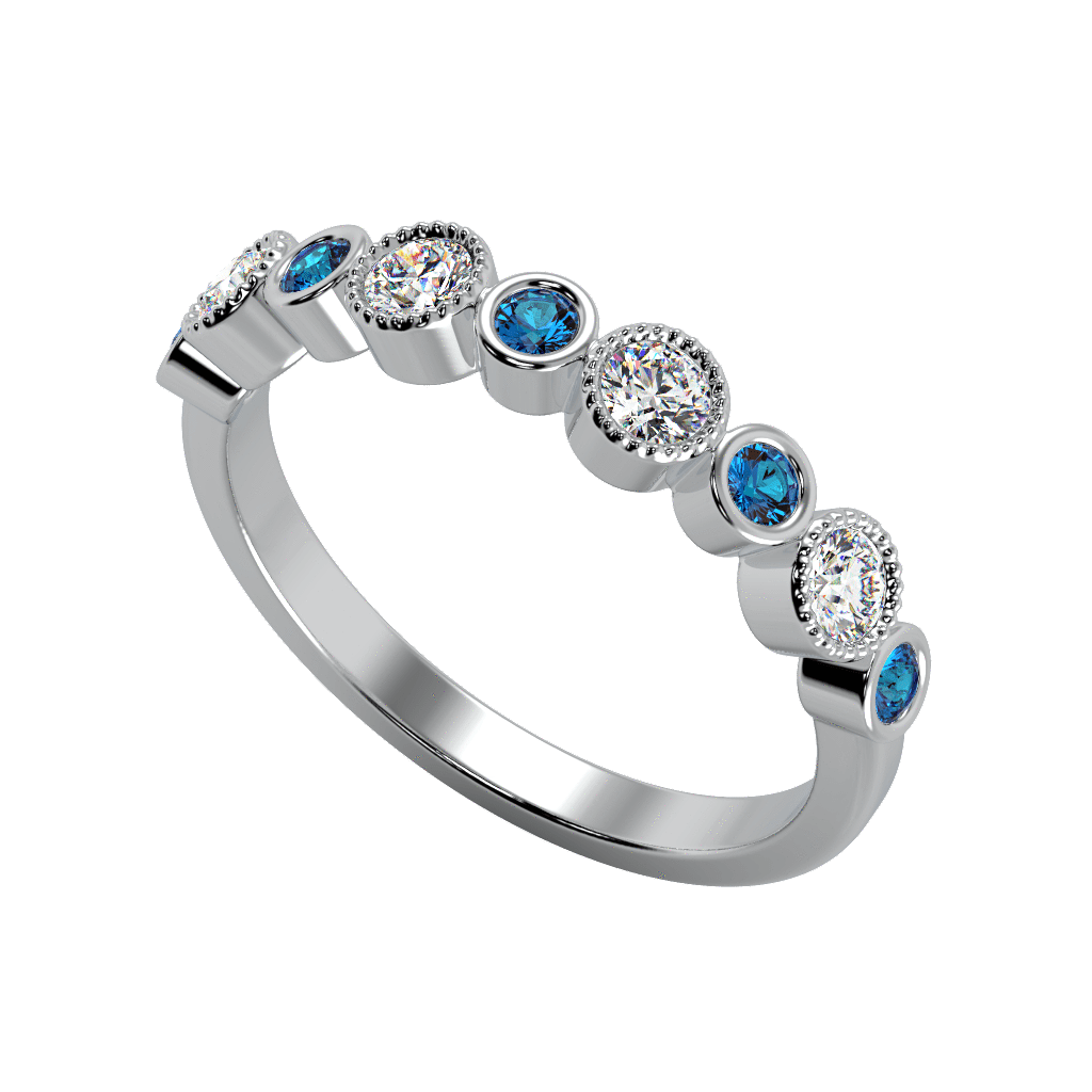 Ring Daisy 14K Gold Story & Hearts Stackable Diamond & Blue Topaz