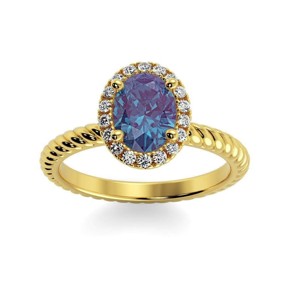 Ring 10K Yellow Gold / 7x5 mm Oval Diana Oval Chatham Alexandrite Halo Diamond Ring Diana  | Chatham Alexandrite | Halo Diamond Ring  | Storyandhearts.com