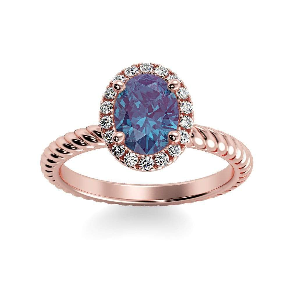 Ring 14K Rose Gold / 7x5 mm Oval Diana Oval Chatham Alexandrite Halo Diamond Ring Diana  | Chatham Alexandrite | Halo Diamond Ring  | Storyandhearts.com