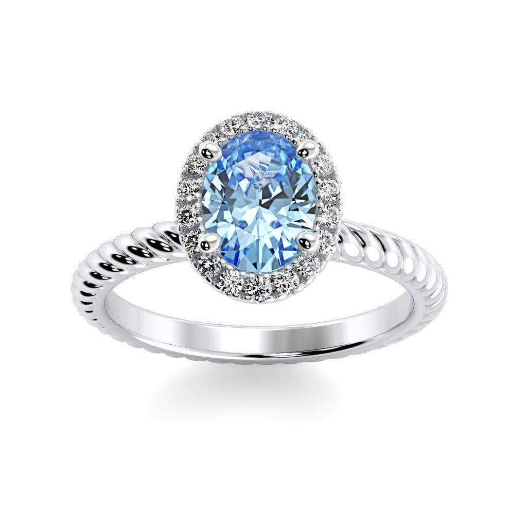 Ring 10K White Gold / 7x5 mm Oval Diana Oval Chatham Aqua Blue Spinel Halo Diamond Ring Diana  | Chatham Aqua Blue Spinel | Halo Diamond Ring  | Storyandhearts.com