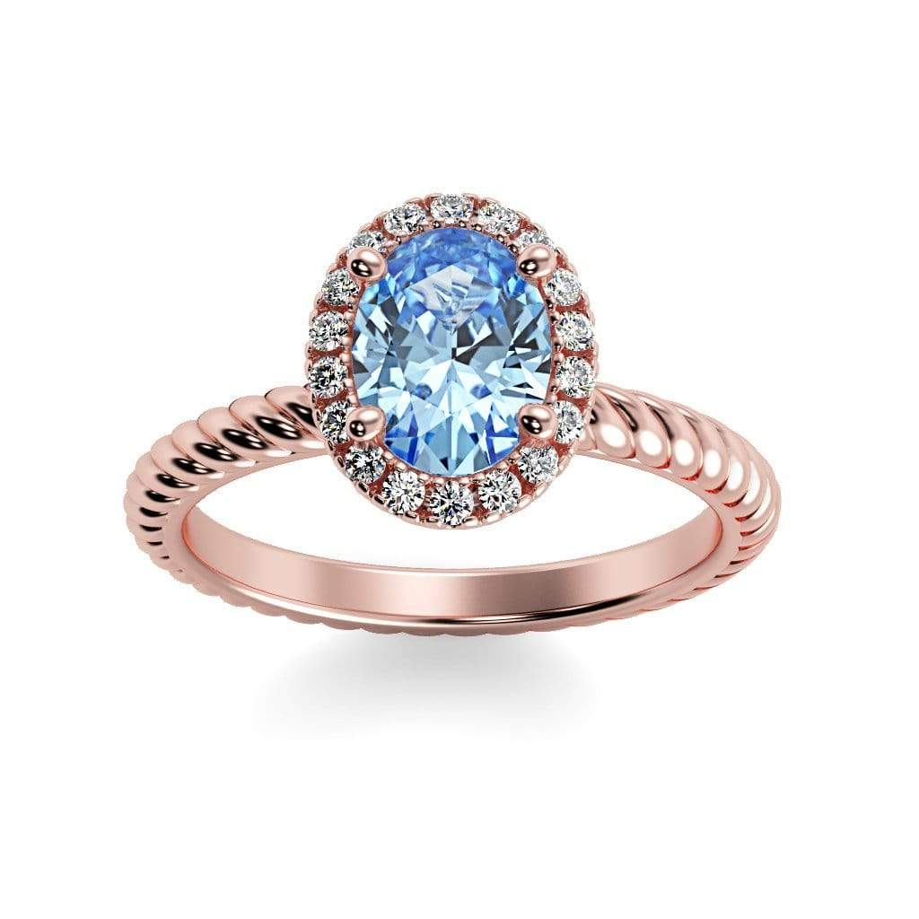 Ring 14K Rose Gold / 7x5 mm Oval Diana Oval Chatham Aqua Blue Spinel Halo Diamond Ring Diana  | Chatham Aqua Blue Spinel | Halo Diamond Ring  | Storyandhearts.com