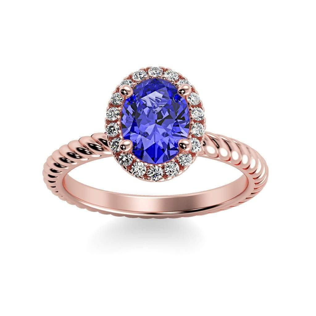 Ring 14K Rose Gold / 7x5 mm Oval Diana Oval Chatham Blue Sapphire Halo Diamond Ring Diana  | Blue Sapphire | Halo Diamond Ring  | Storyandhearts.com