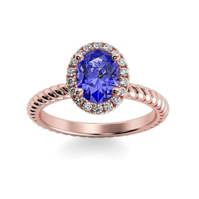 Diana Oval Chatham Blue Sapphire Halo Diamond Ring