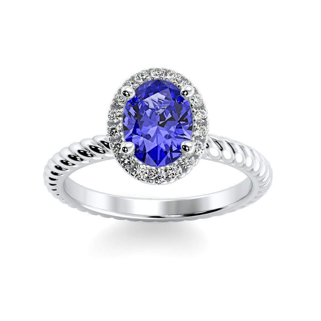 Ring 10K White Gold / 7x5 mm Oval Diana Oval Chatham Blue Sapphire Halo Diamond Ring Diana  | Blue Sapphire | Halo Diamond Ring  | Storyandhearts.com
