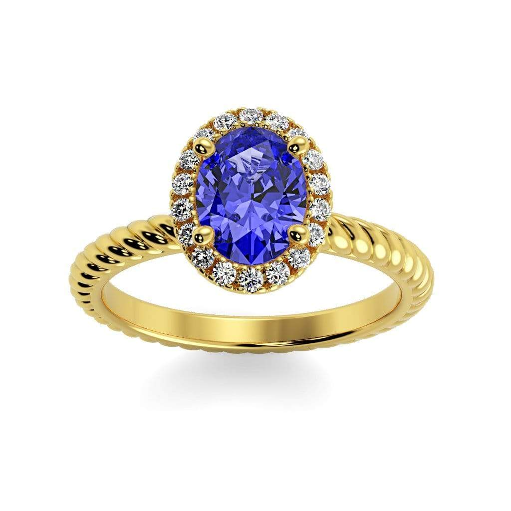 Ring 10K Yellow Gold / 7x5 mm Oval Diana Oval Chatham Blue Sapphire Halo Diamond Ring Diana  | Blue Sapphire | Halo Diamond Ring  | Storyandhearts.com