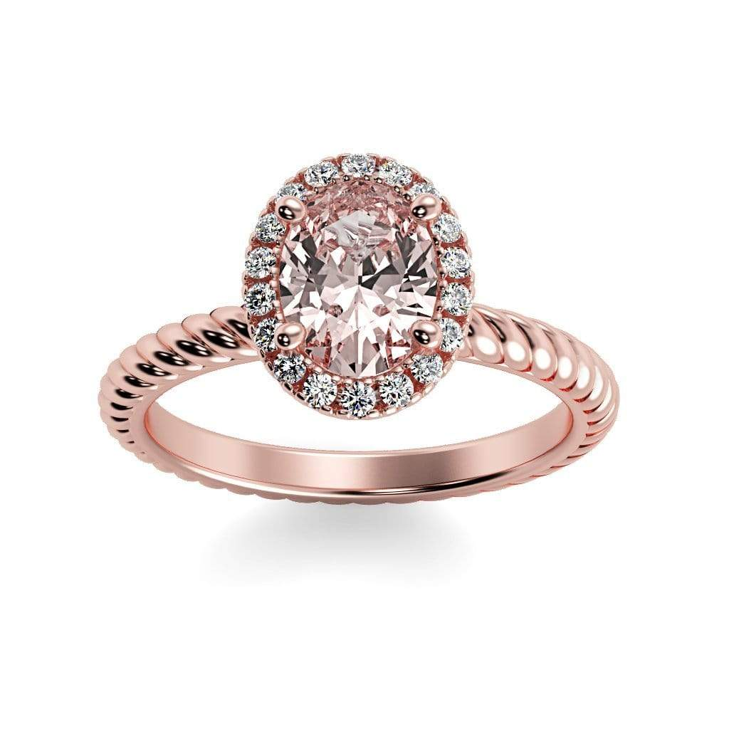 Ring 14K Rose Gold / 7x5 mm Oval Diana Oval Chatham Champagne Sapphire Halo Diamond Ring Diana  | Champagne Sapphire | Halo Diamond Ring  | Storyandhearts.com
