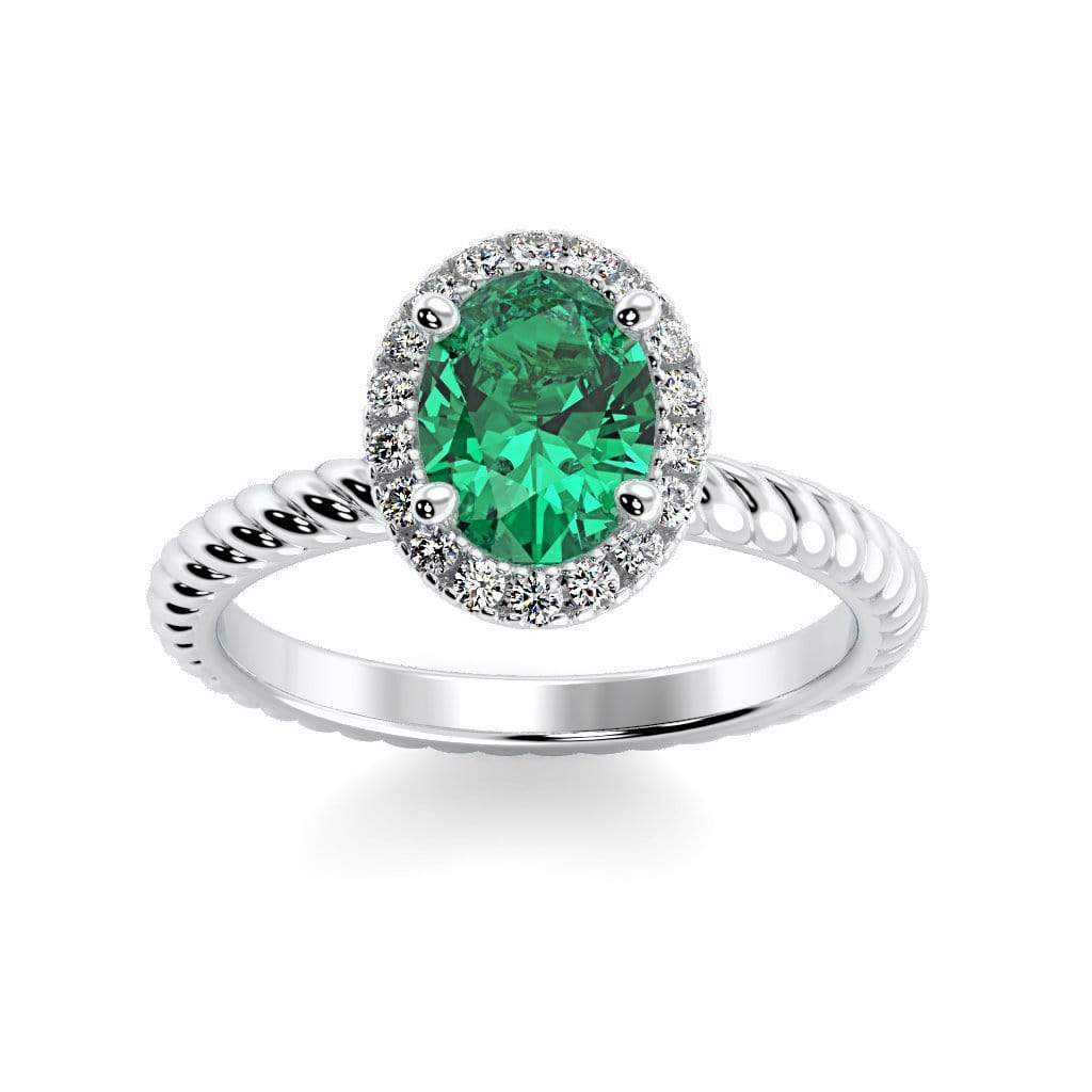 Ring 10K White Gold / 7x5 mm Oval Diana Oval Chatham Emerald Halo Diamond Ring Diana  | Chatham Emerald | Halo Diamond Ring  | Storyandhearts.com